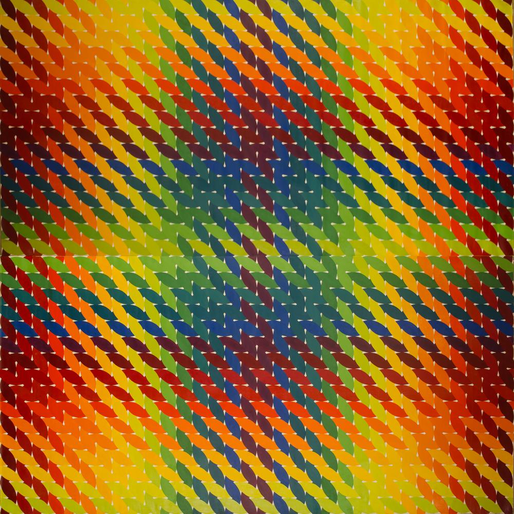 "WEAVE room 1972-1975©- left side panel 96"" x 96"" [243.84 cm x 243.84 cm]"