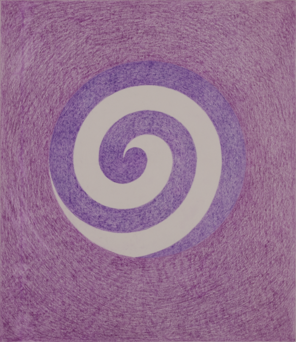 "SPIRAL HB4YAX 1983-84  ©   COLOR PENCILS ON PAPER        14"" x 12"""