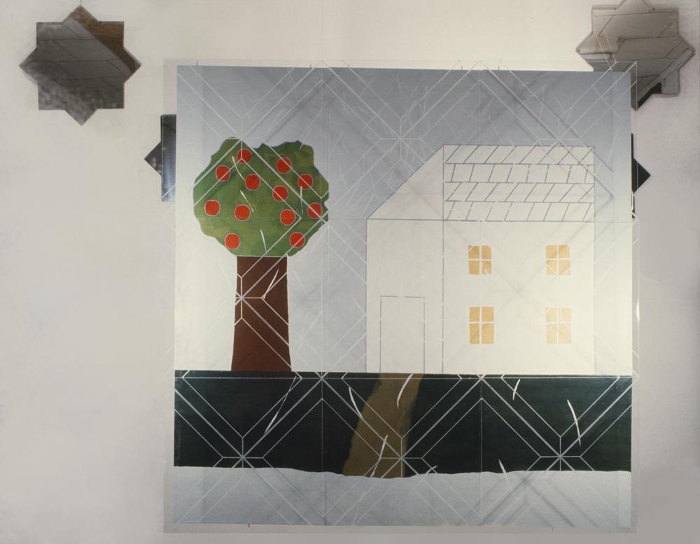 childhood left behind 1972-73 ©  12' X 9.5'oil on canvas, plexiglas, stainless steel