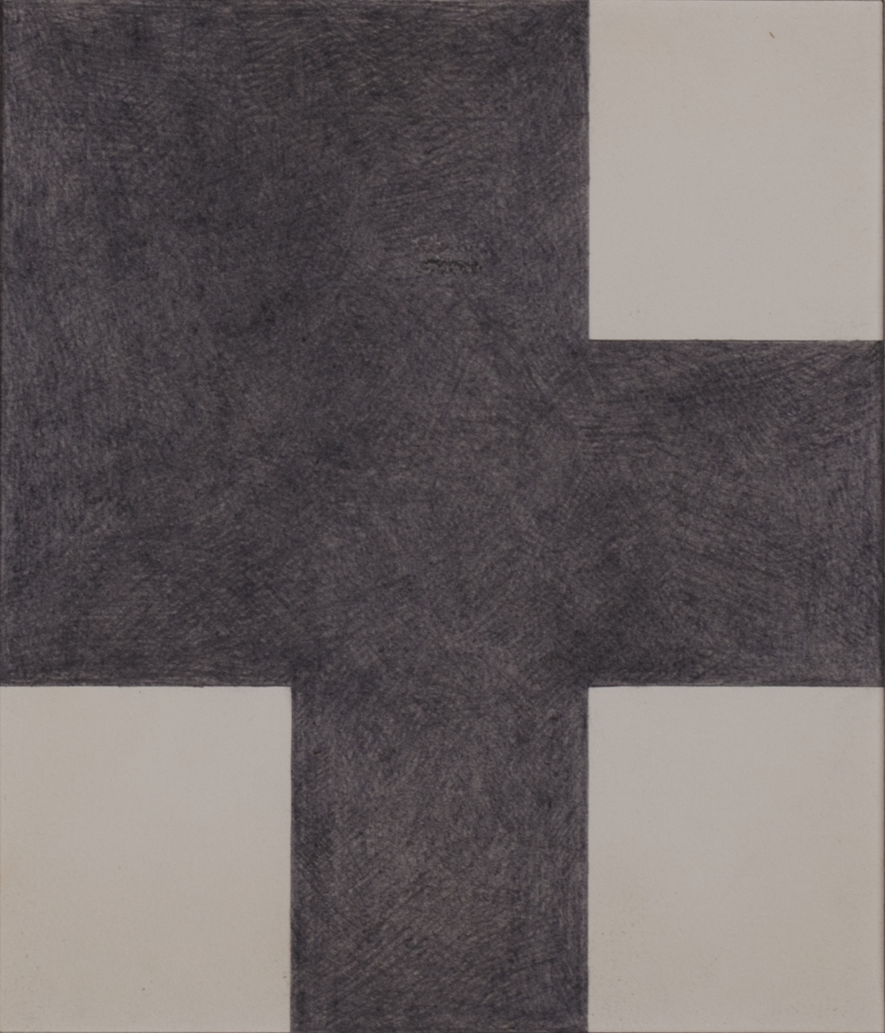 "BLACK SHAPE 1981 ©  GRAPHITE ON PAPER 9"" x 9"""