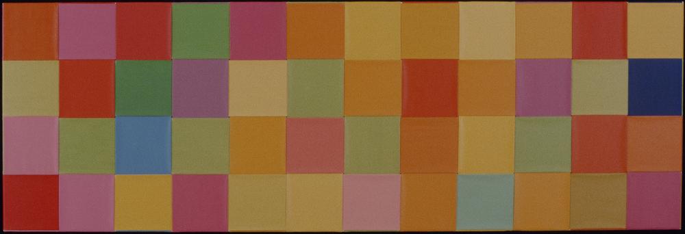 """NIAGARA 1976--77 ©   24"""" X 96"""" WOVEN ACRYLIC ON CANVAS"""