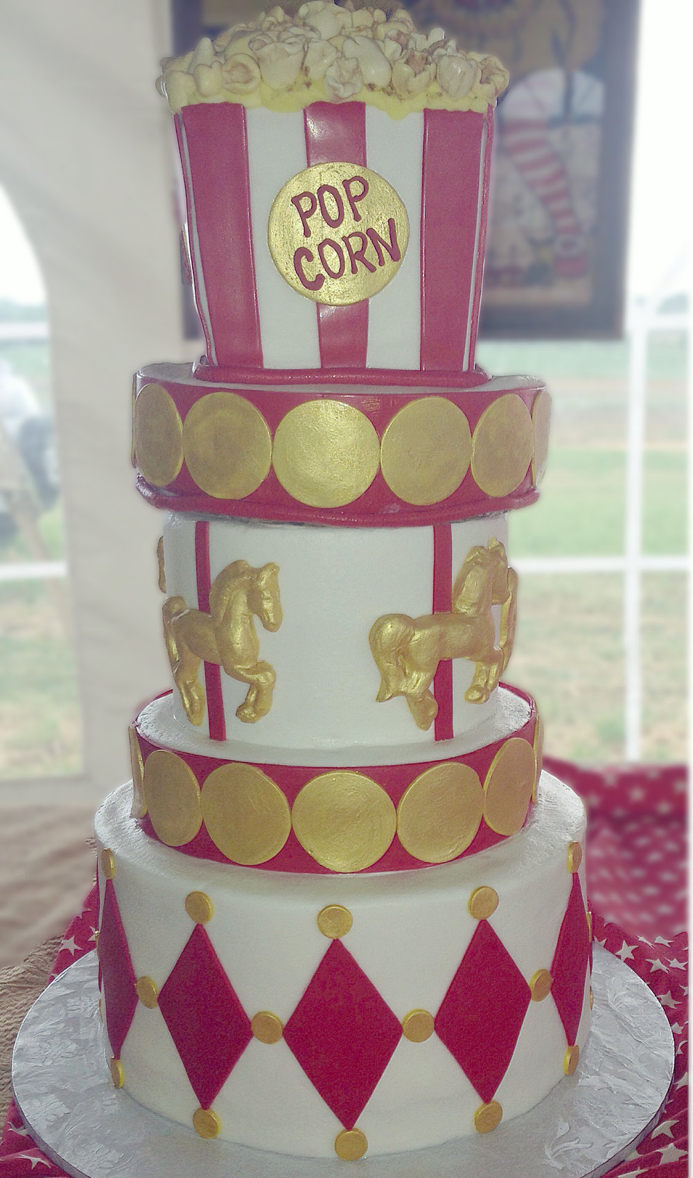 Red and Gold Circus Themed Wedding Cake