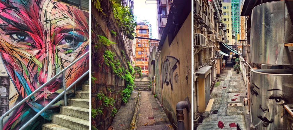 Alleys and graffiti in Soho, Hong Kong Island