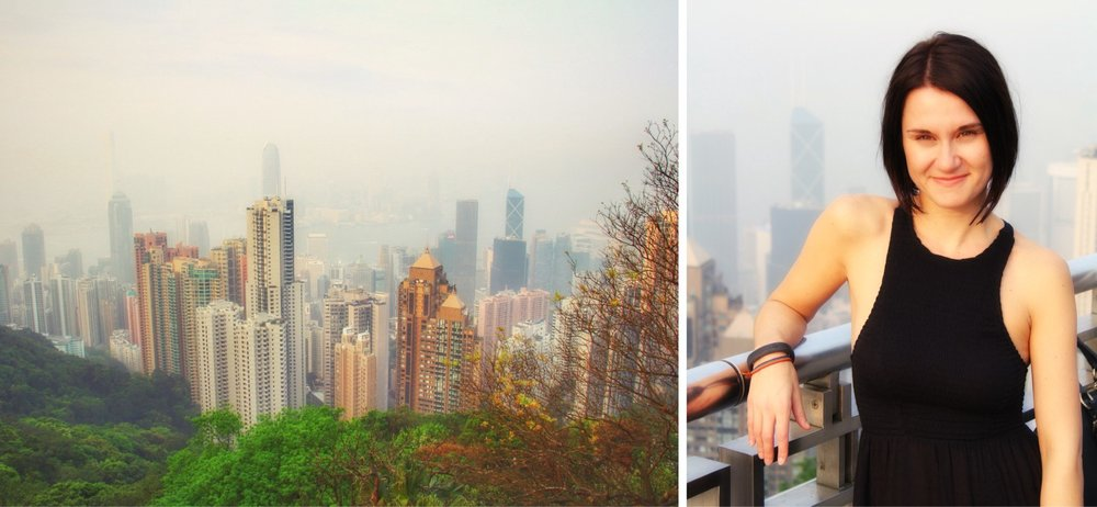 Day 3: the smoggy view from Victoria Peak (photo credit right: Qing Bruce)