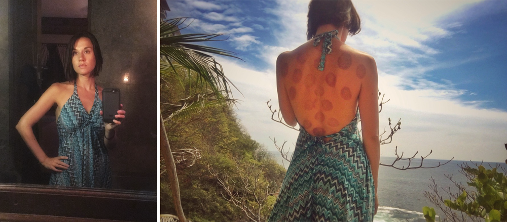An open back dress from Bali (left) that was also well suited for the weather and aesthetics on the Oaxaca Coast of Mexico (right)