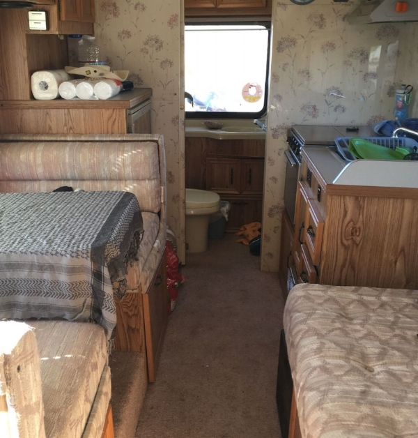 Inside our toyota dolphin motorhomejust after we bought her.