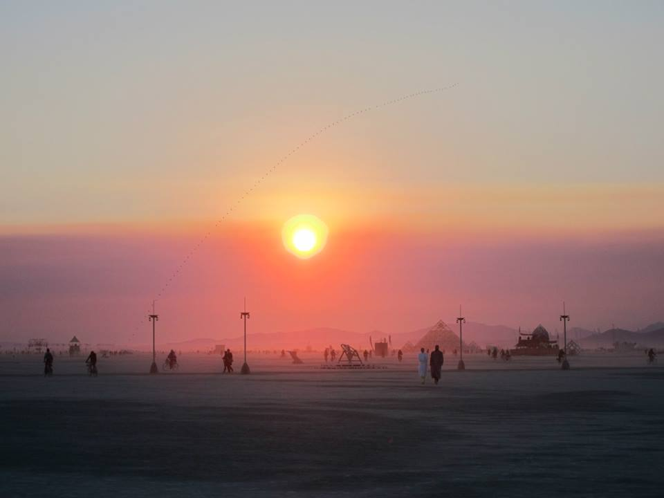 Sunrise at Burning Man (photo by Andrew Torr)