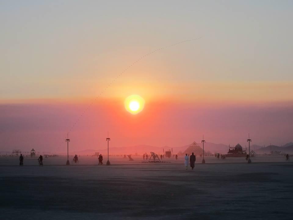 Sunrise at Burning Man (photo by Andrew Torr)