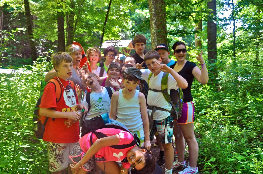 the-campers-makeing-funny-faces-right-before-the-hike-to-tom-huskins-waterfall.jpg
