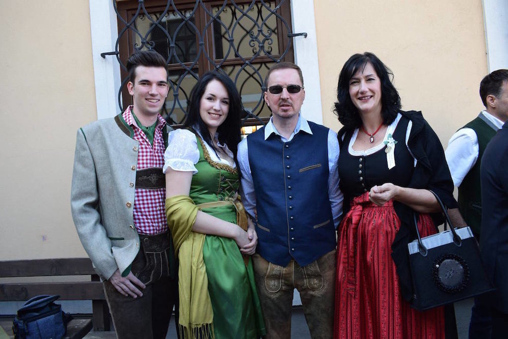 Future counselor Kathi (second from left) in a traditional dirndl from her native Austria!