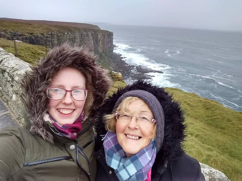 Beth and her mum, braving the elements!