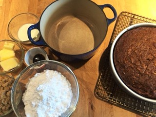 Caramel icing mise en place