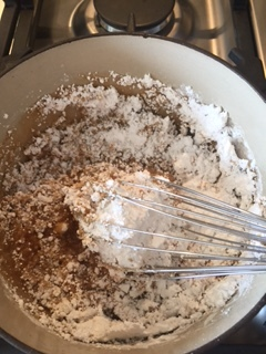 Adding the powdered sugar is scary at first but just keep whisking.