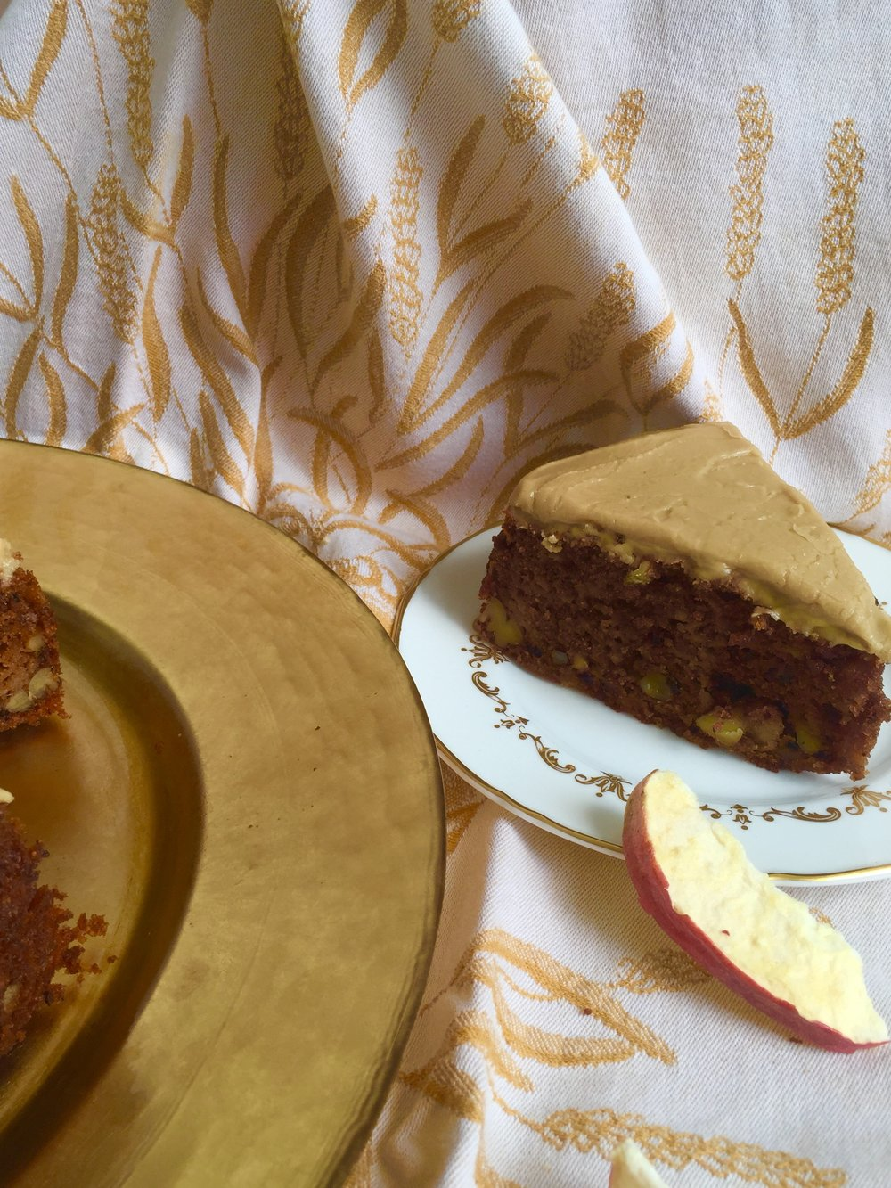 This is a delicious old fashioned cake and an old fashioned photo - I pulled out my mother's wedding china for this shot.