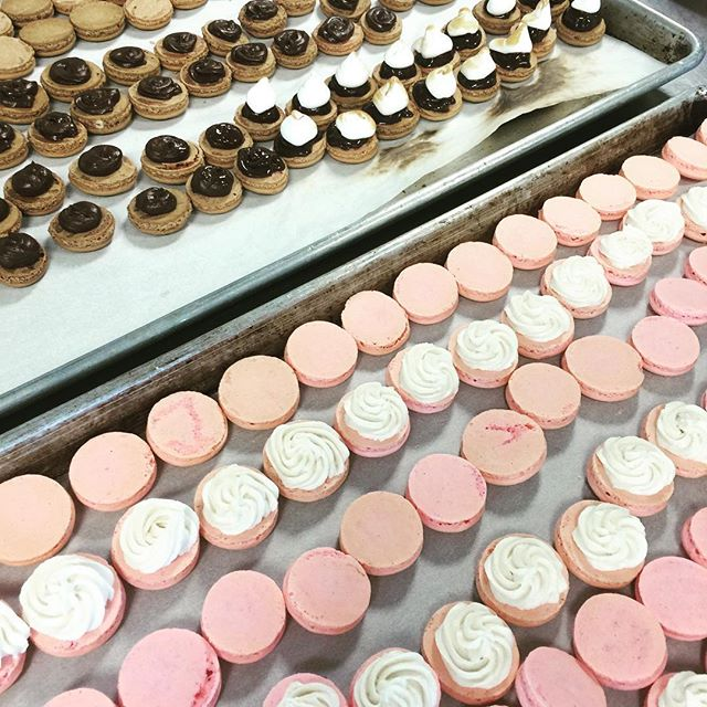 Macaron madness at Art Institute - for Portfolio Show! Rose petal shells with Champagne buttercream and S'mores....#amoretti #macaron #pastrychef #baking