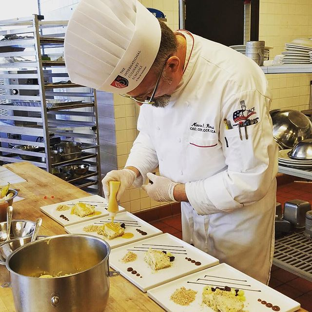 Chef Rossi competing at Art Institute of Los Angeles - ACF category cold plating desserts :) Go Chef!!!! #plated desserts