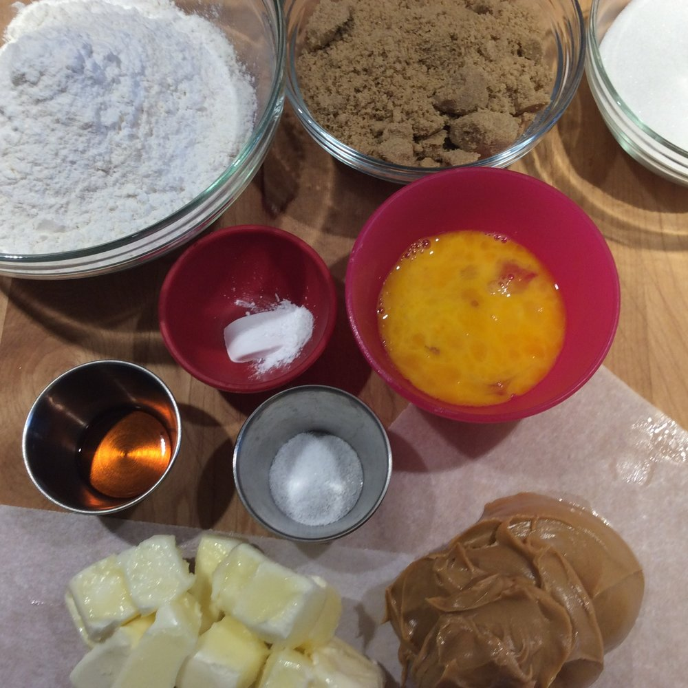 Peanut Butter Mise en Place - note I weighed the butter and peanut butter on pieces of parchment paper - less dishes......