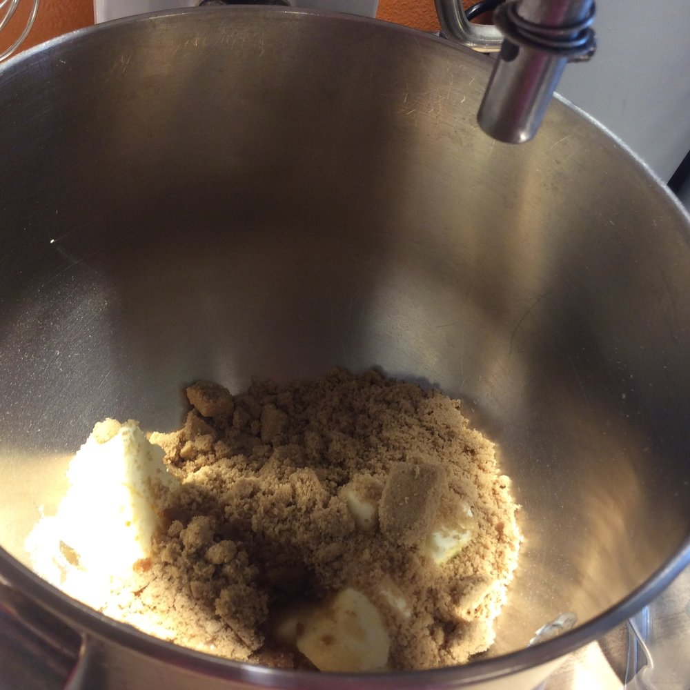 Butter, granulated sugar, brown sugar and vanilla