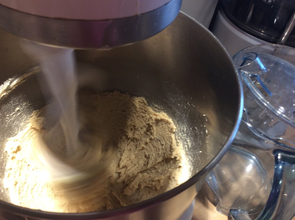 Peanut butter is in = mix only until combined - scrape down the bowl and the paddle