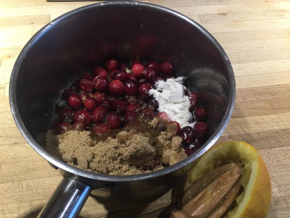 Cranberry topping mise en place - mised right in the pot