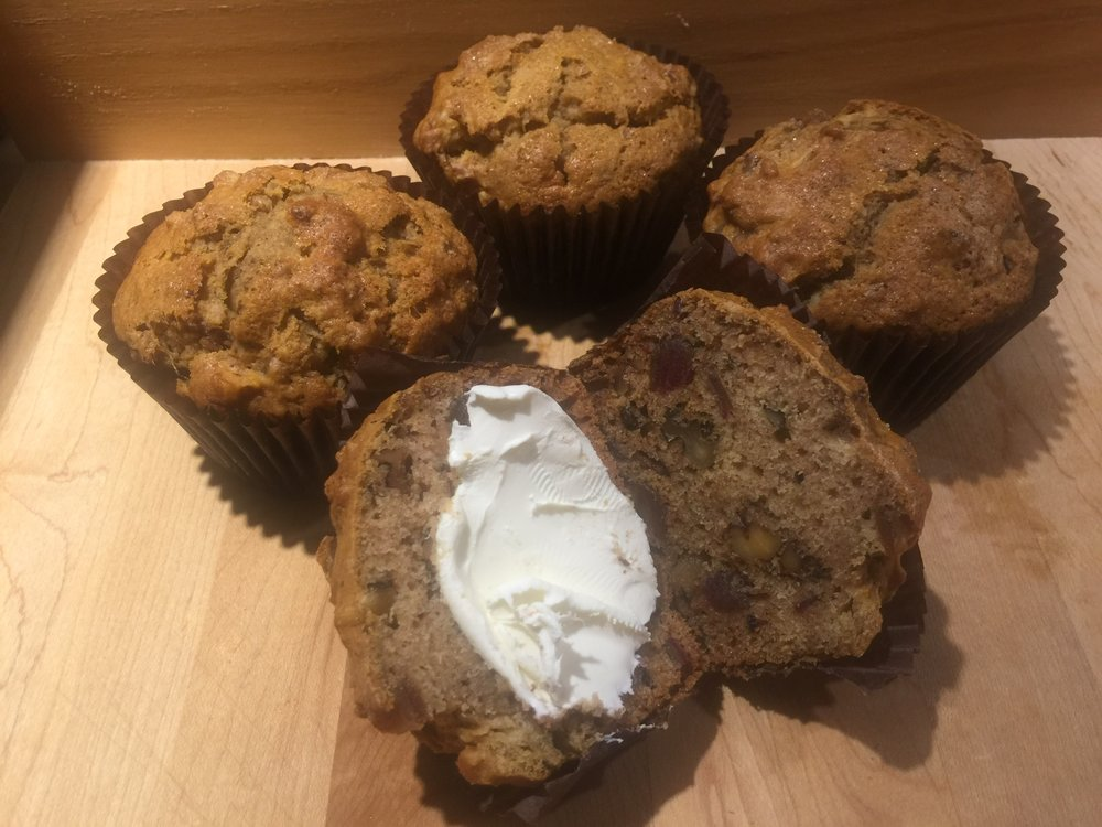 Date Nut Muffins and a little cream cheese...