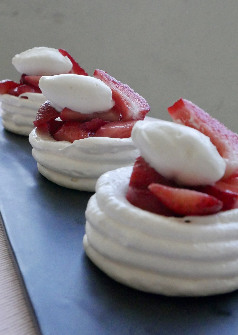 Meringue Nests with Macerated Strawberries and Chantilly Cream