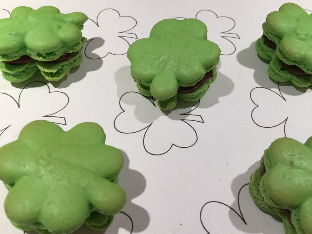 Shamrock Macarons with Bailey's Irish Cream Ganache
