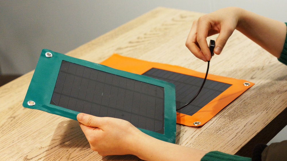 End result of Solar Charger made out of excess PVC-fabric