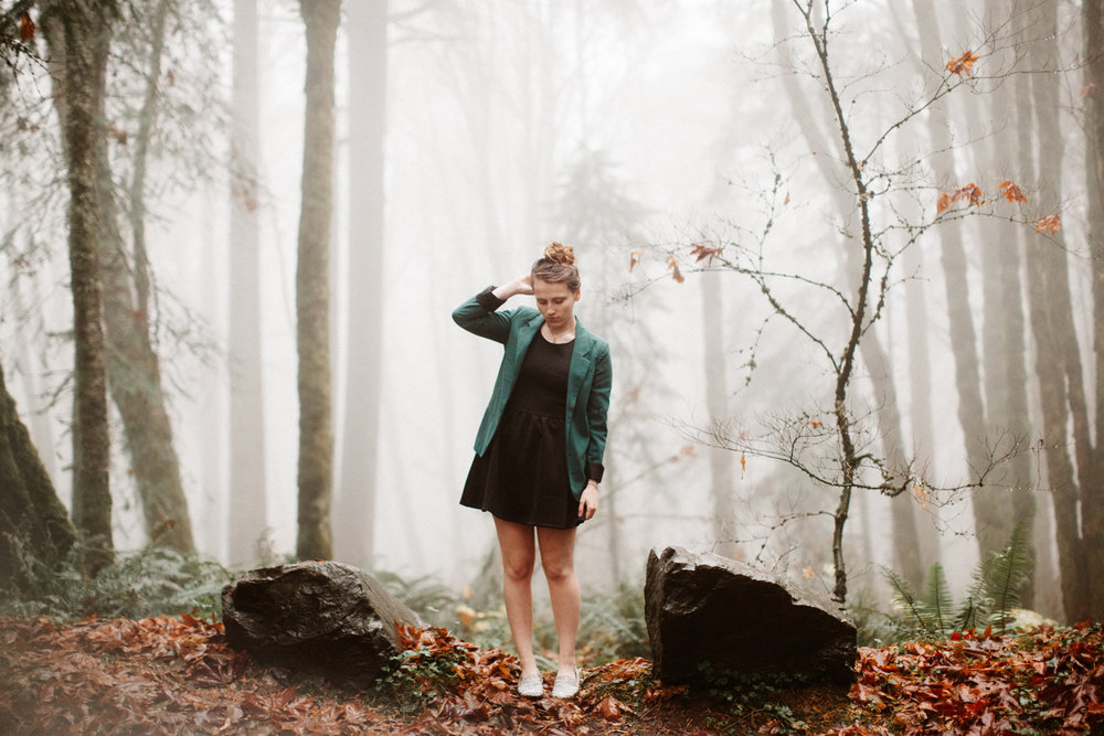 Foggy Portland senior photos taken in Forest Park