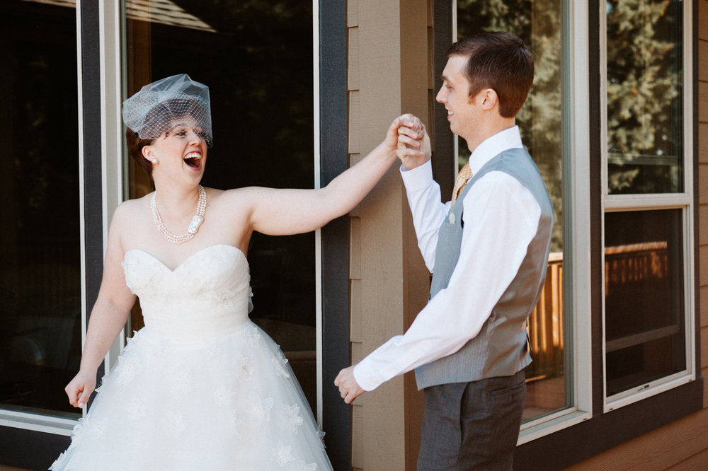 Wedding day first look Portland Oregon