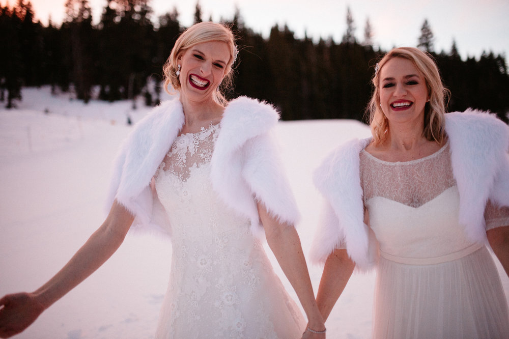 same sex lake tahoe winter wedding photographer