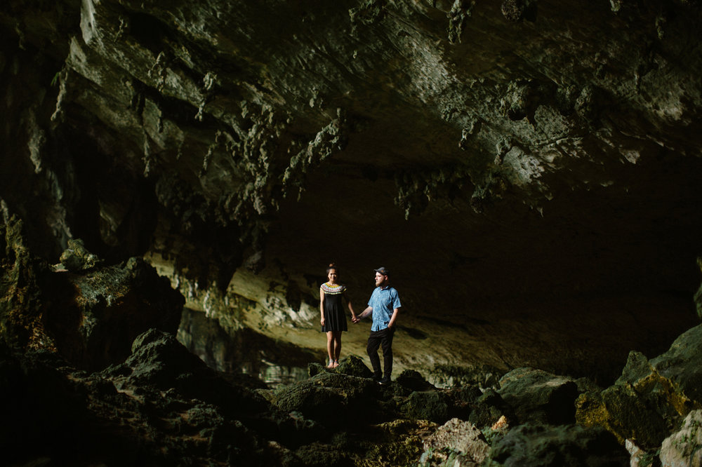 Engagement photos in a cave in Borneo