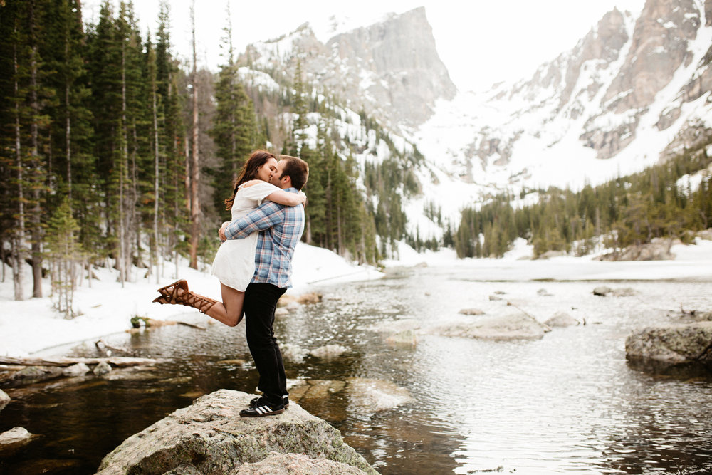 Rocky Mountain National Park engagement photos at Dream Lake