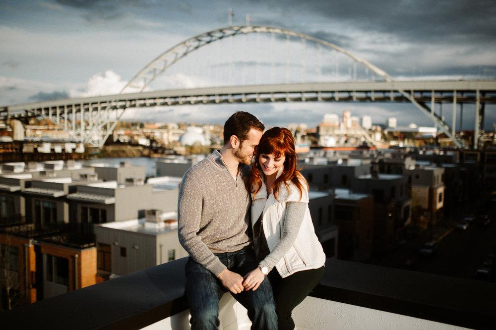Portland, Oregon rooftop engagement photos