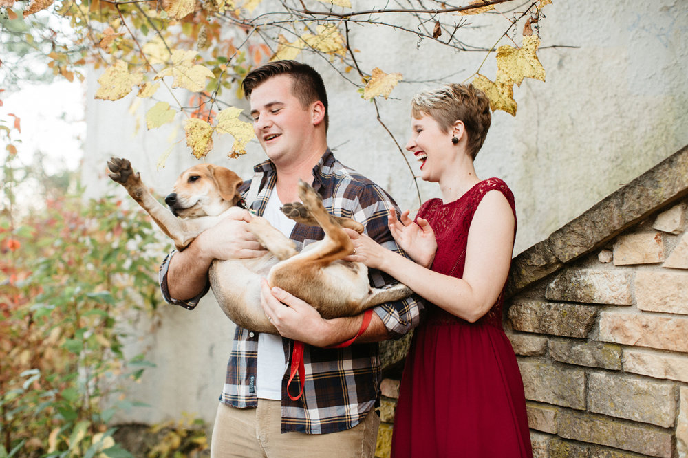Portland Engagement Photos with dogs