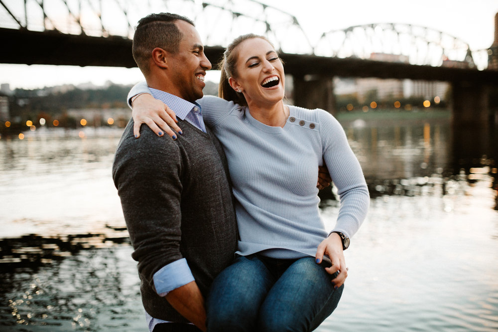 Candid Portland Oregon engagement photos