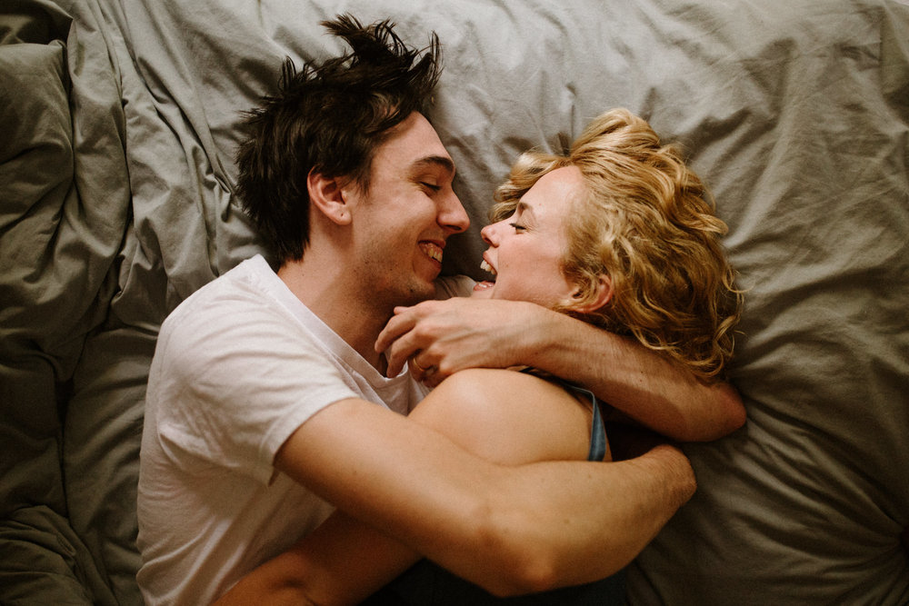 Playful intimate in-home engagement photos