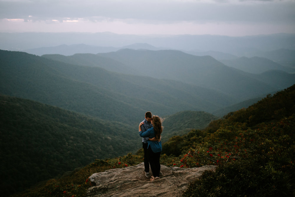 North Carolina engagement photos taken on the Blue Ridge Parkway