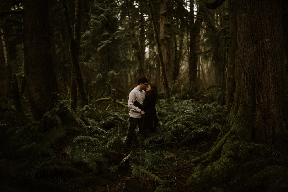 Forest engagement photos in the Pacific Northwest