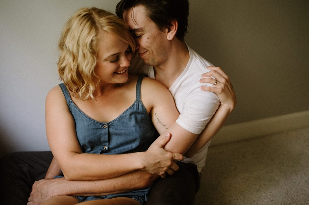 Intimate Portland in-home engagement session