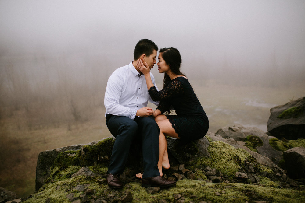 Engagement photos in foggy weather