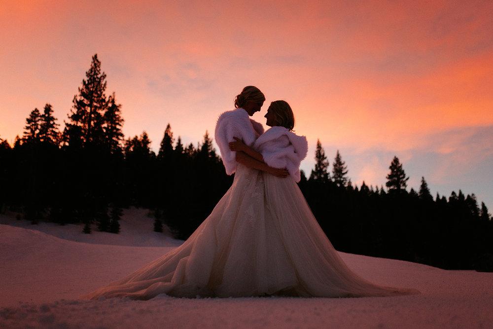 Same sex winter wedding Lake Tahoe