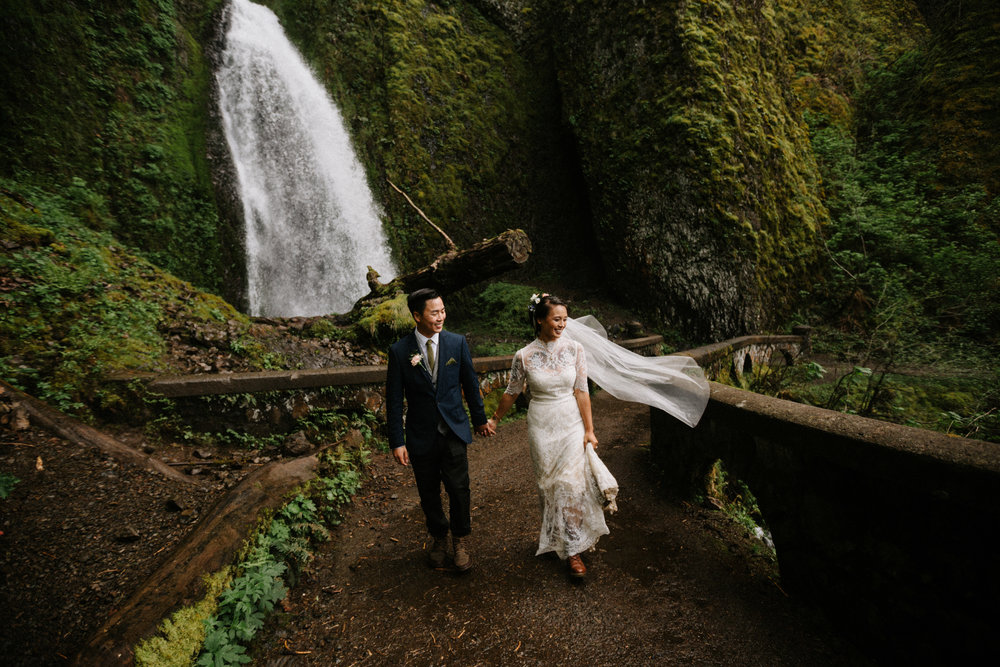 Wahkeena Falls Elopement in the Columbia River Gorge by Portland Wedding Photographer Katy Weaver