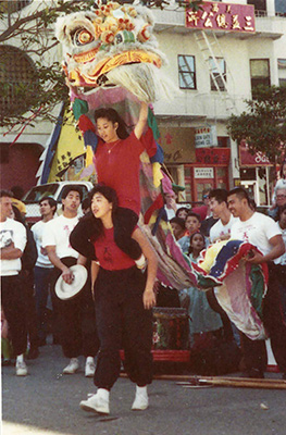 Performing in San Francisco Chinatown with  Tien Loong Hop Sing Tong . Age 12.