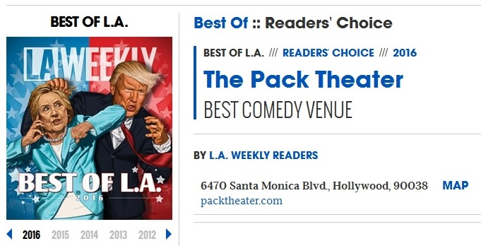 We were VOTED Best Comedy Venue 2016 by LA Weekly's Readers!