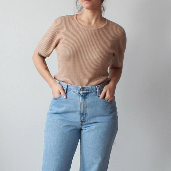 ribbed short-sleeve sweater