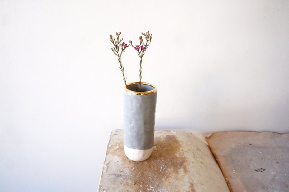 gray and gold bud vase