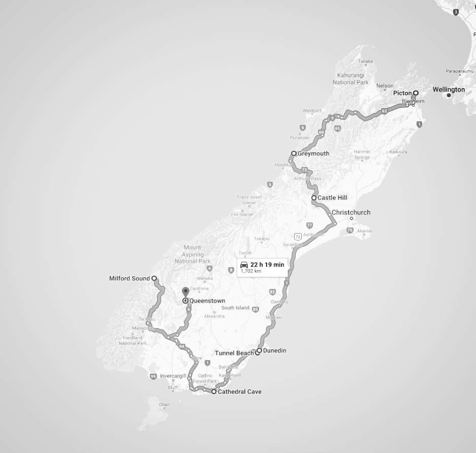 South Island Map