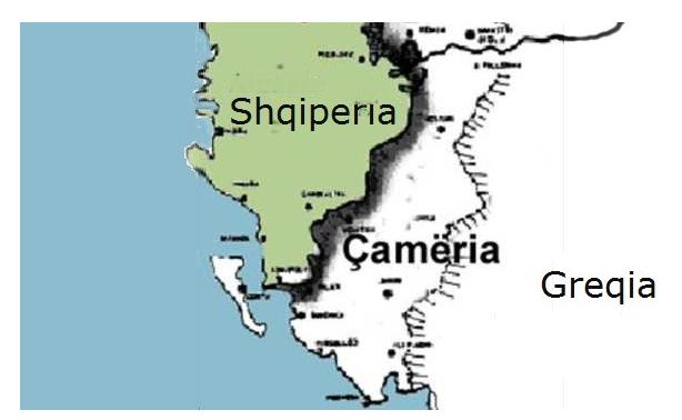 Pjesa jugore e Shqipërisë Etnike (Çamëria).