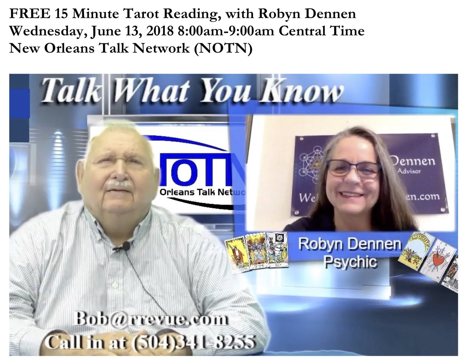 Talk to the Tarot ~ July 2018 New Orleans Talk Network — Robyn Dennen
